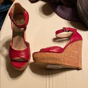 Michael Kors Red Leather Cork Wedges sz 8.5
